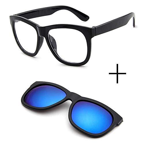 NOSSON Sonnenbrille für Männer, Magnetclip auf Sonnenbrille Brille quadratische Linse Männer Frauen Spiegel Sonne Nachtsicht Fahren