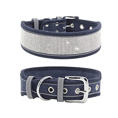 Yiwong Collar de Perro de Diamantes de Imitación para Perros Medianos y Grandes, Collar de Perro de Gamuza Ajustable, Collar de Perro Grande Reflectante