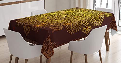 ABAKUHAUS Mandala Tischdecke, Orientalische Schneeflocke Kunst, Für den Inn und Outdoor Bereich geeignet Waschbar Druck Klar Kein Verblassen, 140 x 170 cm, Gelb Braun