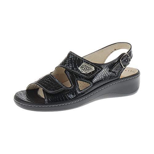 Fidelio Damen Schuhe Sandale Hallux Fabia Weite F1/2 Schwarz Krokolacks 43400440 (41 EU)