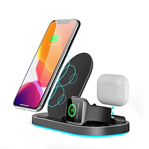 YoCenSe Wireless Charger 3 in 1 for Apple Watch and AirPods Pro Charging Dock Station, Nightstand Mode for iWatch Series SE/6/5/4/3/2/1, Fast Charging for iPhone 12/11/Pro Max/XR/Xs Max/X/8/8Plus