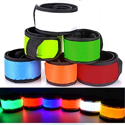 Party Favors LED Slap Wrist band, Flashing 3 modes Glow in The Dark Bracelets Classroom Prizes Party Supplies Adjustable Light Up Toys for Kids Adults Christmas Birthday Xmas Carnival Sports(6 Pack)