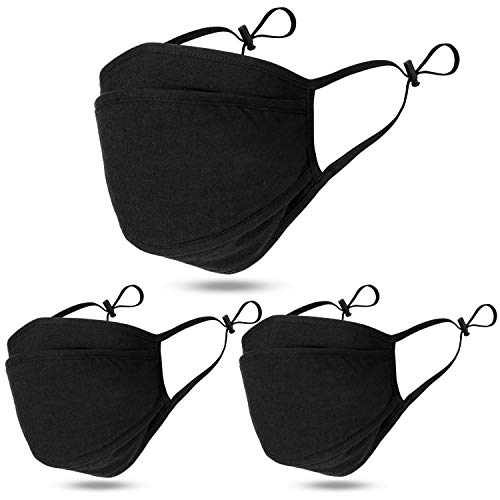 3-Ply Cloth Face Mask with Nose Wire, Washable and Reusable, Shield Filter Lining, Cotton Fabric Masks, Breathable Adjustable Loop, Korean Mouth Cover 3P - Black