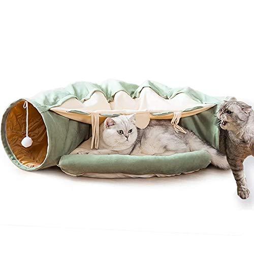 MULLY Panier pour chats, tunnel pour chats avec coussin, tunnel 2 en 1 avec balles à gratter suspendues, panier avec tunnel idéal pour chats d'intérieur, (vert menthe)