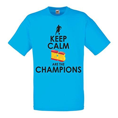 lepni.me Camisetas Hombre Españoles Son los campeones, Campeonato de Rusia 2018, Copa del Mundo - Equipo del fútbol de Camisa del admirador de España (Small Azul Multicolor)