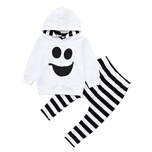 Disfraz Halloween Niño Bebe 1-4 años Ghost Smile Sudaderas con Capucha y Manga Larga + Pantalones a Rayas (3 años, Blanco)