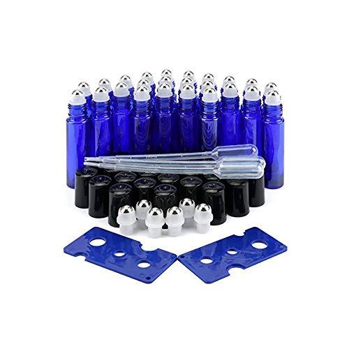 EEIEER Roller fioles d'huiles essentielles Bleu cobalt 10 ml,Lot de 24 Roll On vides bouteilles Verre avec balles de roller en acier inoxydable et 2 décapsuleur, 3 pipette couvercle Noir pour parfum