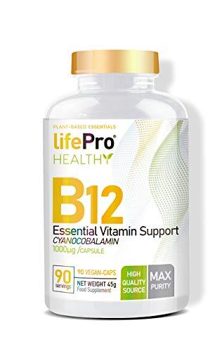 Life Pro Health vitamina B12 vegana – Vitamina B12 1000 mcg de alta asimilación – B12 Vitamin cianocobalamina para el aporte necesario del organismo - 90 cápsulas veganas