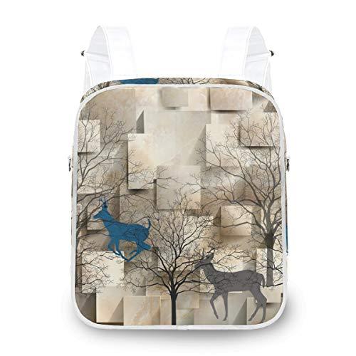 FANTAZIO Backpacks Abstract Elks And Trees Shoulder Bag School Bag