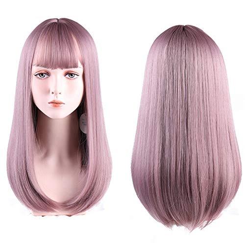 hkwshop Peluca Moda Peluca de Cosplay de Longitud Media con Flequillo Ligero Naranja Sintético Sintético Resistente al Calor Rose Rose Wigs para Mujeres Sintético Pelucas