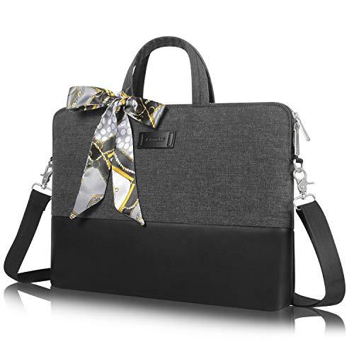 Kamlui Laptoptasche für Damen, 39,6 cm (15,6 Zoll), Schultertasche, Messenger für MacBook Pro Air, HP, Lenovo Dell, Schwarz