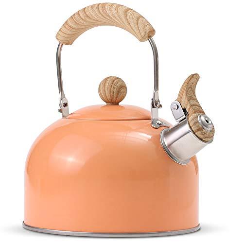 ROCKURWOK Tea Kettle, Stovetop Whistling Teapot, Stainless Steel, Yellow, 2.43-Quart