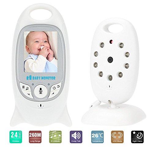 KKmoon Baby Monitor Kamera 2,0 Zoll VB601 LCD Wireless mit 8IR LED ZweiWege Sprechen 8 Schlaflieder Temperatur Monitor VOX Modus