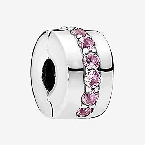 CHICBUY 2018 Madre Día Regalo Brillante Path Clip Rosa CZa Bead 925 Plata DIY se adapta para Original Pandora pulseras encanto moda joyas