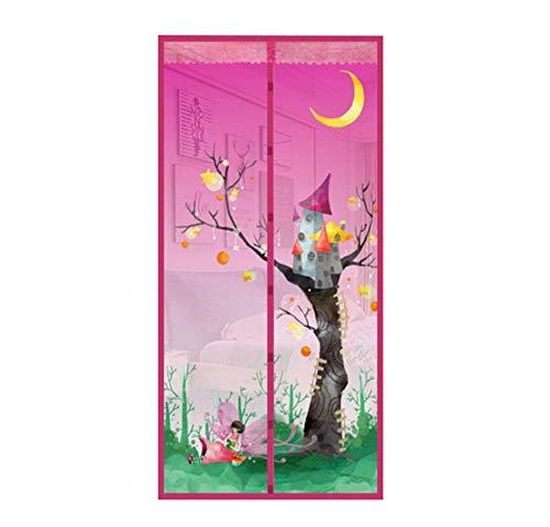 Zomergordijn meisje onder roze boomhut magnetische anti-muggenzeef bedrukt automatisch gesloten gordijn versleutelingsgaren snelle installatie W80xH210cm(31.5 * 82.7 inch)