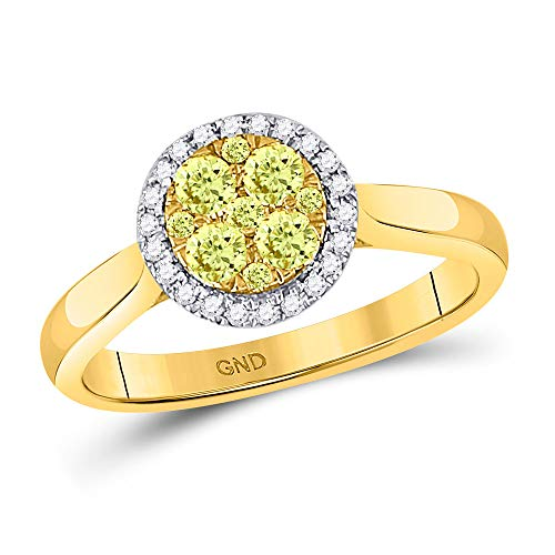 Solid 14k Yellow Gold Round Canary Yellow Diamond Circle Cluster Engagement Wedding Anniversary Ring Band 1/2 Ct. - Size 7