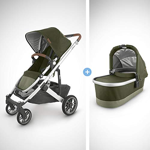 Great Price! UPPAbaby Cruz V2 Stroller - Hazel (Olive/Silver/Saddle Leather) + Bassinet - Hazel (Oli...