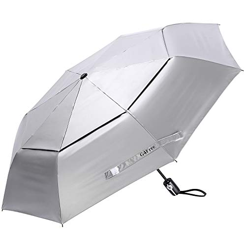 G4Free UPF 50+ UV Protection Travel Umbrella 42 Inch Auto Open Close Silver Vent Double Canopy Folding Sun Blocking Umbrella (42inch)