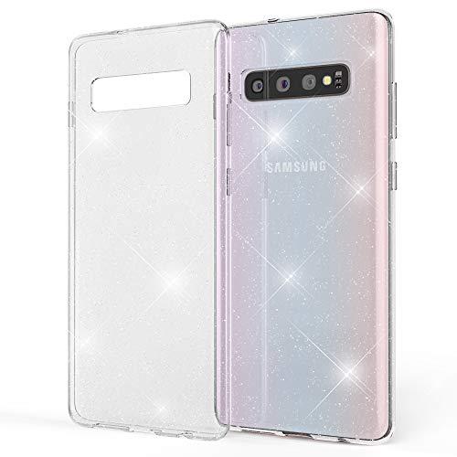 NALIA Custodia Glitter compatibile con Samsung Galaxy S10, Ultra-Slim Cellulare Silicone Gomma Cover Protettiva, Morbido Sottile Telefono Protezione Gel Case per Smartphone, Colore:Trasparente