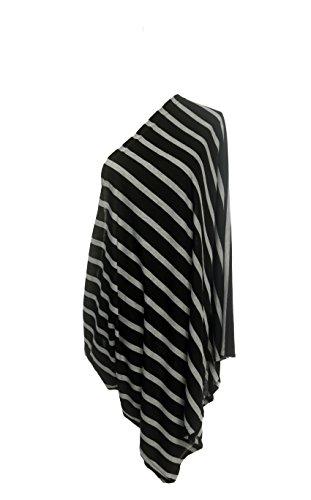 50/50 Cotton Poly Infinity Nursing/Breastfeeding Scarf (Stripes Black & Grey)