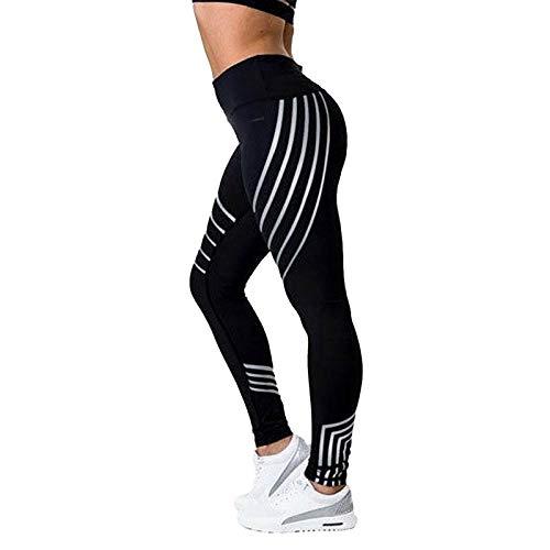 GHFF Pantalones De Yoga De Malla Negra Sexy para Mujer Leggings con Estampado De Rayas De Gimnasio Slim Fitness Leggings De Cintura Alta Fitness Styleb Black-XL