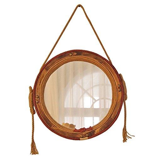 Ameublement et décoration Décoration de la maison Salon miroir rond Chambre mur en bois massif chanvre corde miroir Beau miroir dans la salle de bain Miroir de douche de salle de bain Miroir de courto
