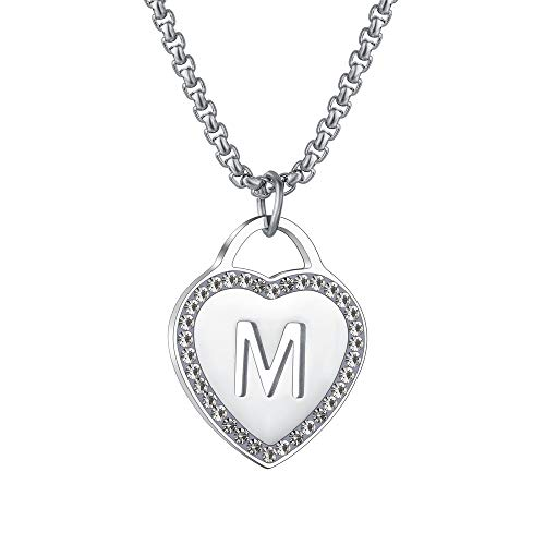 CALIS Women's Silver Initial Necklace Stainless Steel Love Heart Tiny Letter Necklace Personalized Name Jewelry for Girlfriend Gift Alphabet Letter M