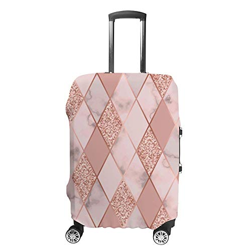 Luggage Cover Thickened Washable Geometric Marble Pink Polyester Fibe Elastic Foldable Lightweight Travel Suitcase Protector