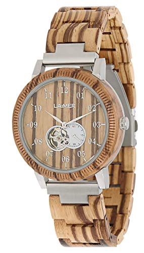 LAiMER zegarek drewniany RAFAEL – męski automatyczny zegarek na rękę z drewna cebranowego z okienkiem w przemyślanym mechanizmie automatycznym, 21 klejnotów, 40 godzin rezerwy czasu pracy