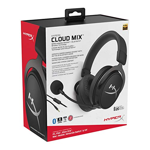 HyperX HX-HSCAM-GM Cloud MIX - Cascos de gaming con cable y Bluetooth, Color Negro