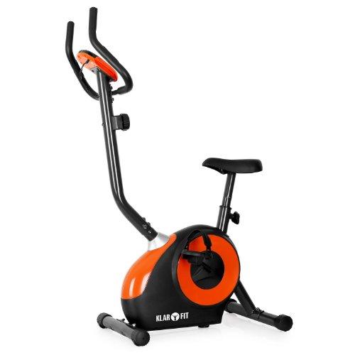 Klarfit Mobi FX 250 Cyclette (display LCD per allenamento, cardiofrequenzimetro integrato con sensore palmare, 8 livelli di resistenza regolabili, supporto smartphone o tablet) - nero   arancione