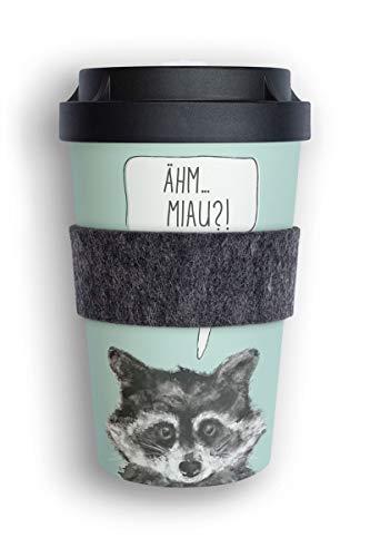 heybico Coffee to go Becher Made in Germany mit Filz-Manschette | Frei von Melamin & ohne Bambusfasern | Biologisch abbaubar & kompostierbar (Sneaky Raccoon)