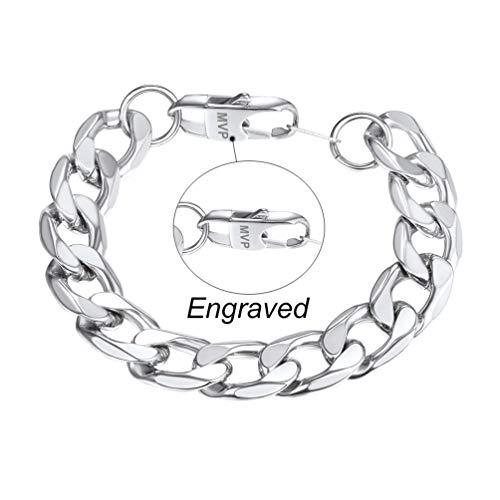 PROSTEEL Engraved Bracelet Chain for Men 13mm 21CM Stainless Steel Hand Chain