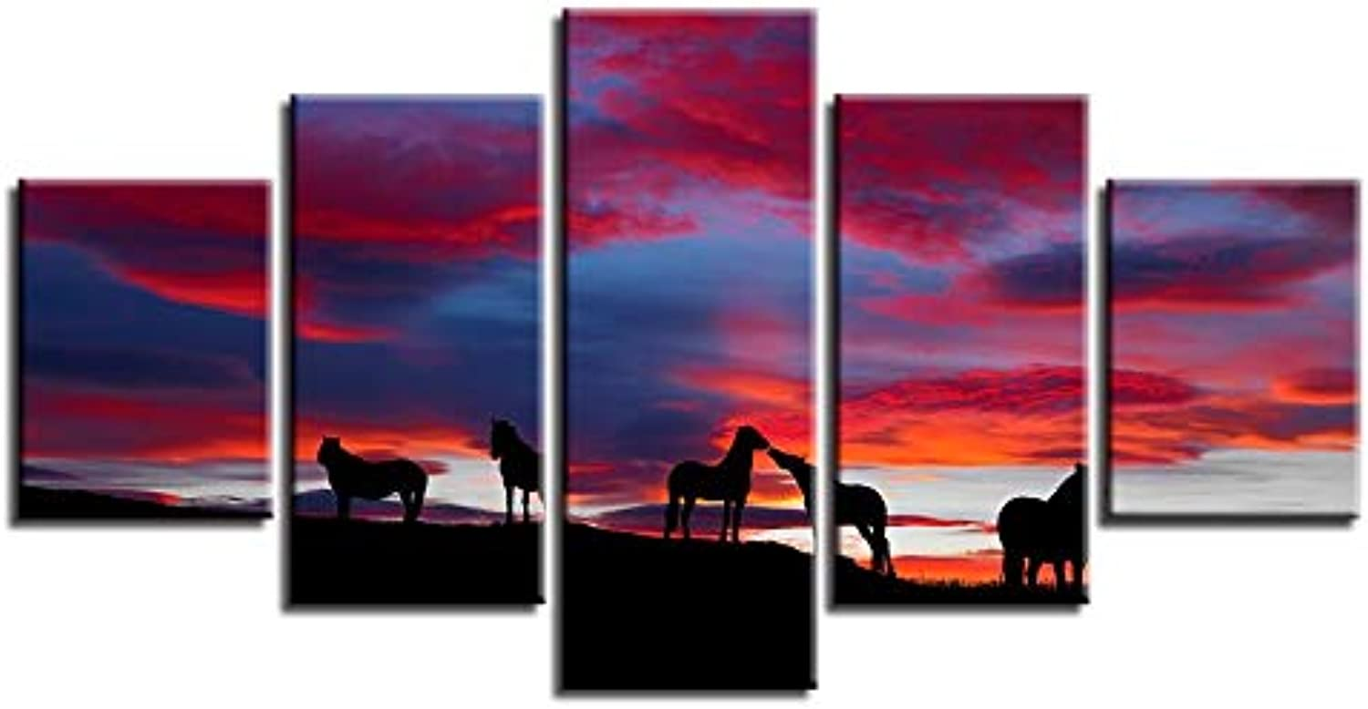HD Printing Canvas Modular Framework Wall 5 Panel Sunset Landscape of Animals Painting Popular Picture for Living Room Decor