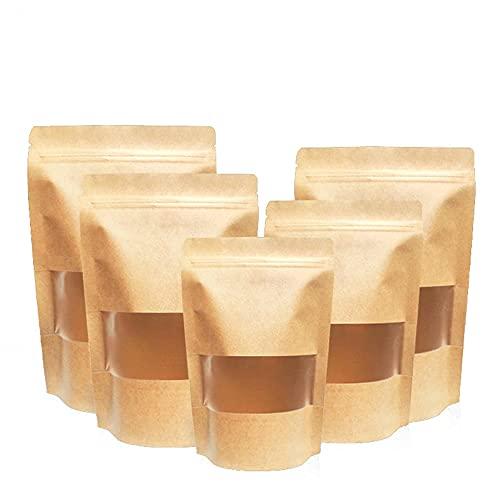 Sacchetto di Carta Kraft, Sacchetto Sigillato, 100Pcs Busta Stand Up per Conservare Gli Alimenti, con Finestra Trasparente, per Conservare Frutta Secca, Tè, Snack-9x14+3 cm