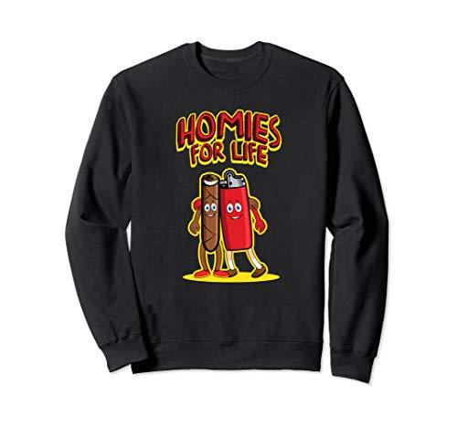 Homies For Life - Joint und Feuerzeug | Kiffer Cartoon Humor Sweatshirt