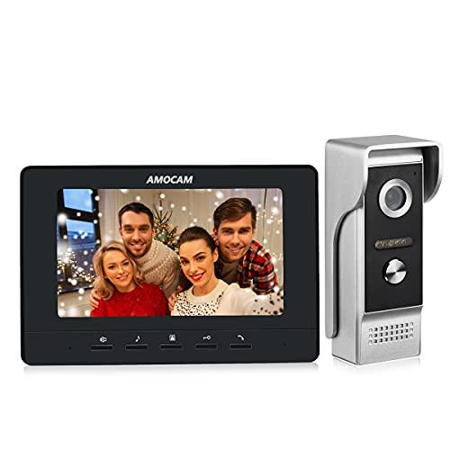 AMOCAM Video Intercom System, 7 Inches Monitor Wired Video Door Phone Doorbell Kits, IR Night Vision Camera Door Intercom, Support Unlock, Monitoring, Dual-Way Intercom for Home Video Surveillance