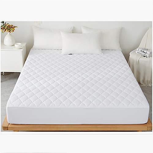 AIKES Funda de colchón de poliéster de color sólido, protector de colchón impermeable, protectores de colchón gruesos, lujo, comodidad, blanco suave 90 x 200 x 30 cm