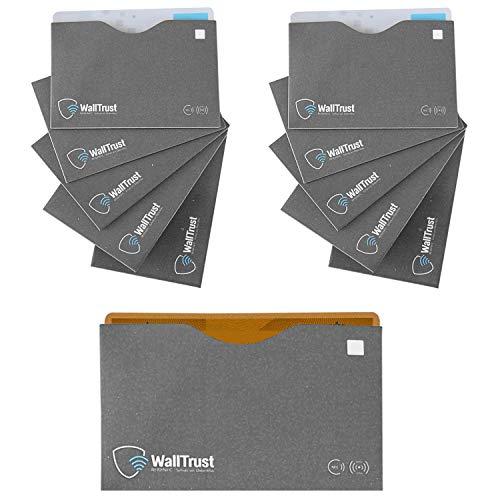 WallTrust RFID Schutzhülle – Ausleseschutz für Kreditkarten aus Papier, TÜV geprüft, Oben offen, grau, 10x