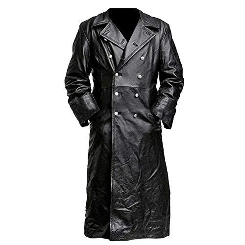 YEBIRAL Herren Mittelalter Ledermantel Schwarz Zweireiher Langer Mantel Steampunk Gothic Jacke Vintage Viktorianischen Cosplay Kostüm Trenchcoat