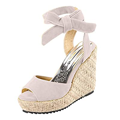 JUSTWINCasual Ladies Platform High Wedges Shoes Open Toe Straps Thick Bottom Lace-Up Roman Sandals