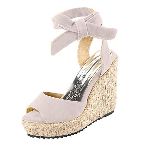 SHE.White Damen Sandalen Keilabsatz Espadrilles Mit Schnürung Wedges Schuhe Mit Absatz Sandaletten Strand Peep Toe Riemchensandalen Sommer