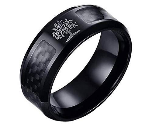 HIJONES Men's Stainless Steel Carbon Fiber Inlay Tree of Life 8mm Band Ring Black Size T