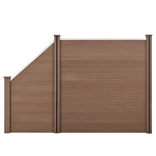 neu.holz] WPC Gartenzaun mit abgeschrägtem Zaunelement 183x277cm Braun Sichtschutz Windschutz Lamellenzaun Zaun Schrägelement