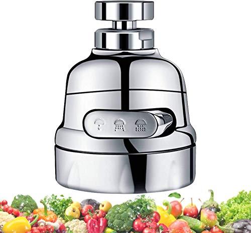 Aireador de fregadero de cocina móvil – 360 ° giratorio cabeza de repuesto para cocina, grifo aireador antisalpicaduras boquilla con 3 modos de ajuste