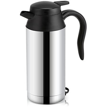 Kimiss 450ml 12 V 24 V Auto Wasserkocher Tasse Edelstahl Reise Heizung Tasse Becher Heißer Kaffee Tee Trinkbecher Becher Schwarz 12v Auto