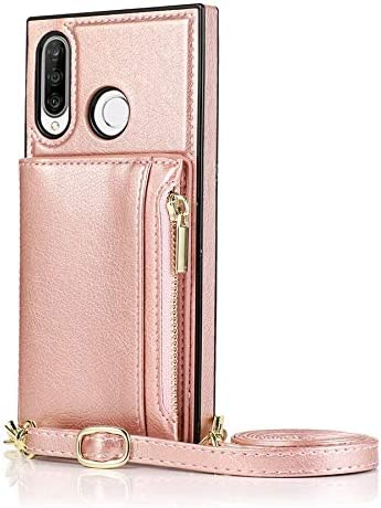 SLDiann Case for Huawei P30 lite, Zipper Wallet Case with Credit Card Holder/Crossbody Long Lanyard, Shockproof Leather TPU Case Cover for Huawei P30 lite (Color : Rosegold)