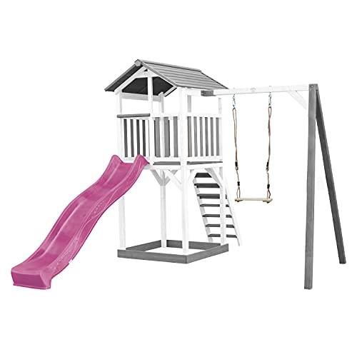 AXI Beach Tower Spielturm aus Holz in Weiß & Grau | Spielhaus für Kinder mit lila Rutsche, Schaukel und Sandkasten | Stelzenhaus für den Garten