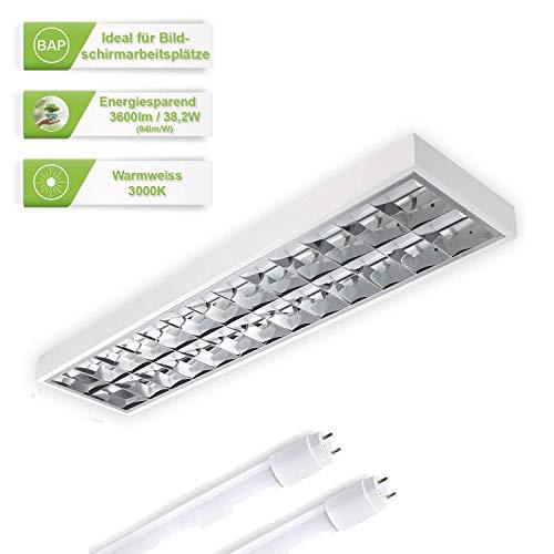 ELG Leuchten LED Rasteranbauleuchte 150cm 2 x 19,1 Watt 2x 1800lm (3600lm) 3000K (Warmweiss) Büroleuchte Deckenleuchte Bürobeleuchtung Rasterleuchte Deckenlampeoptional Pendelleuchte