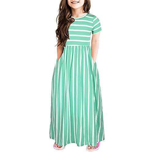Julhold - Vestido infantil de algodón para niña, de 2 a 12 años verde 9-10 Años